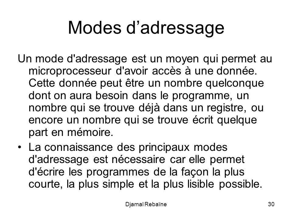 Djamal Rebaïne30 Modes dadressage Un mode d'adressage est un moyen qui permet au microprocesseur d'avoir accès à une donnée. Cette donnée peut être un