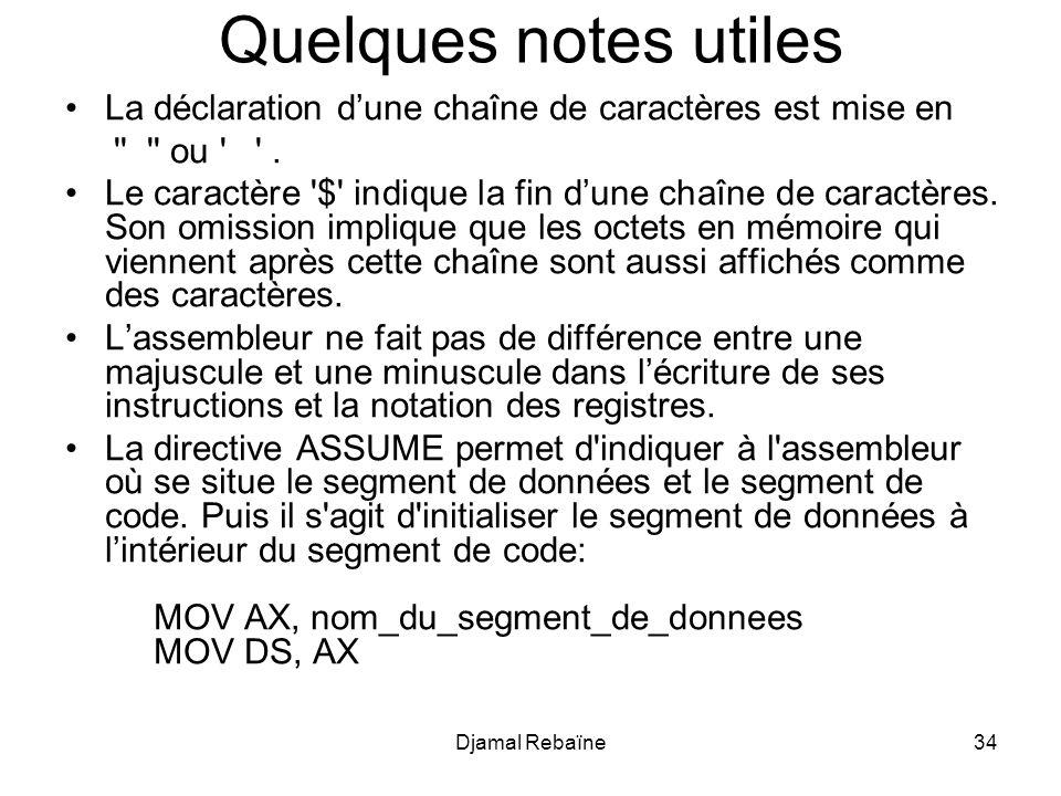 Djamal Rebaïne34 Quelques notes utiles La déclaration dune chaîne de caractères est mise en ou .