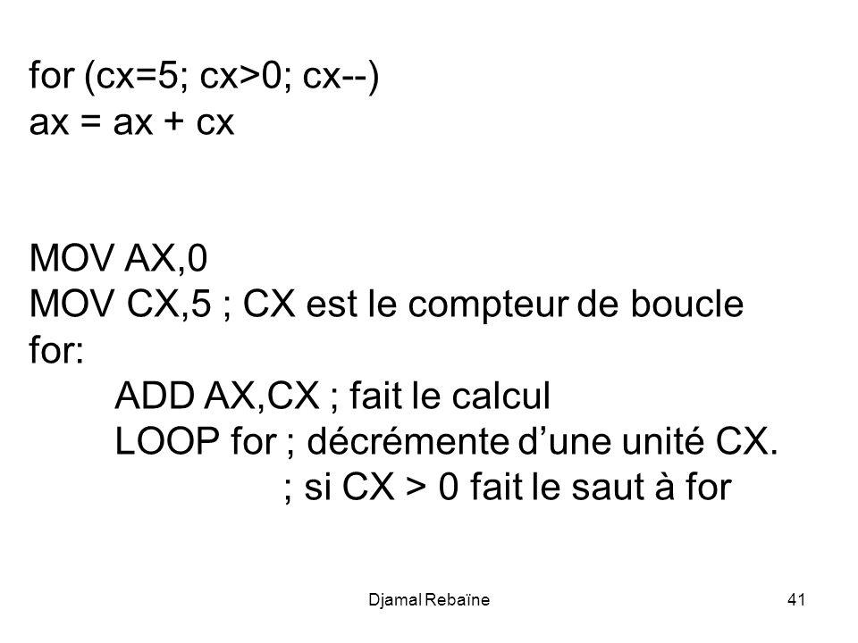Djamal Rebaïne41 for (cx=5; cx>0; cx--) ax = ax + cx MOV AX,0 MOV CX,5 ; CX est le compteur de boucle for: ADD AX,CX ; fait le calcul LOOP for ; décré