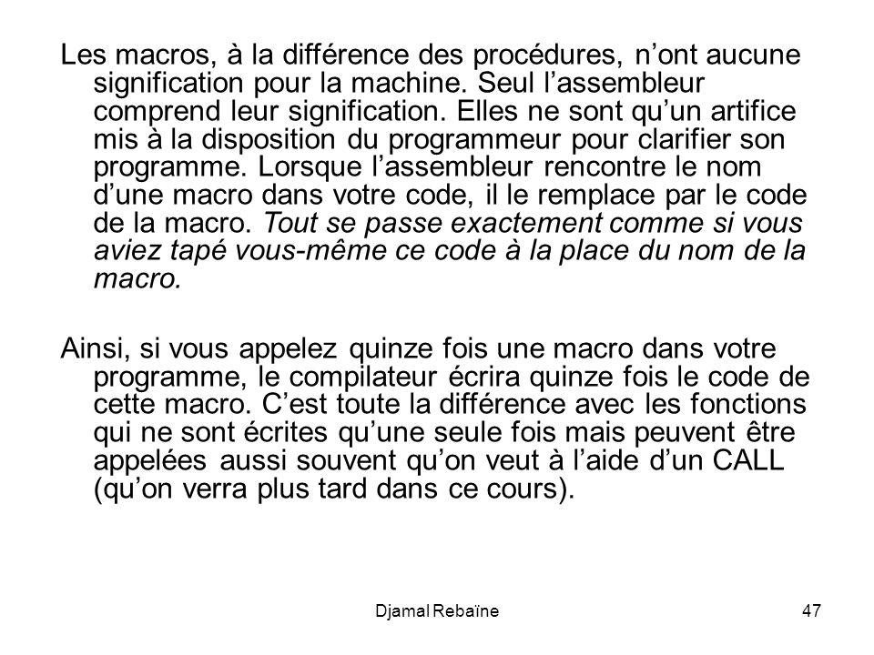 Djamal Rebaïne47 Les macros, à la différence des procédures, nont aucune signification pour la machine.