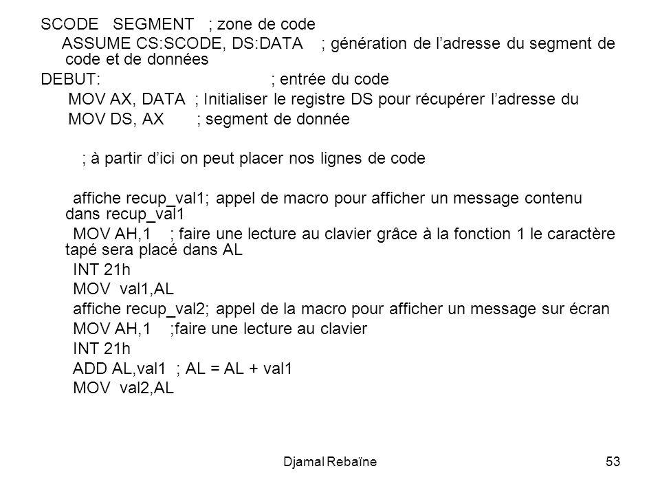 Djamal Rebaïne53 SCODE SEGMENT ; zone de code ASSUME CS:SCODE, DS:DATA ; génération de ladresse du segment de code et de données DEBUT: ; entrée du code MOV AX, DATA ; Initialiser le registre DS pour récupérer ladresse du MOV DS, AX ; segment de donnée ; à partir dici on peut placer nos lignes de code affiche recup_val1; appel de macro pour afficher un message contenu dans recup_val1 MOV AH,1 ; faire une lecture au clavier grâce à la fonction 1 le caractère tapé sera placé dans AL INT 21h MOV val1,AL affiche recup_val2; appel de la macro pour afficher un message sur écran MOV AH,1 ;faire une lecture au clavier INT 21h ADD AL,val1 ; AL = AL + val1 MOV val2,AL
