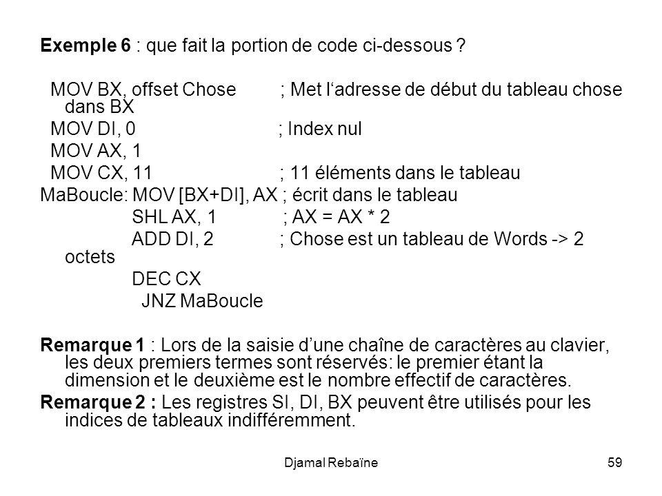 Djamal Rebaïne59 Exemple 6 : que fait la portion de code ci-dessous ? MOV BX, offset Chose ; Met ladresse de début du tableau chose dans BX MOV DI, 0