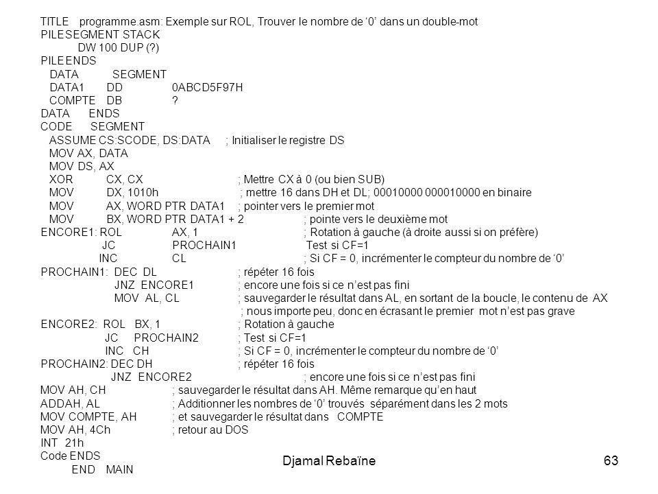 Djamal Rebaïne63 TITLE programme.asm: Exemple sur ROL, Trouver le nombre de 0 dans un double-mot PILESEGMENT STACK DW 100 DUP (?) PILEENDS DATA SEGMENT DATA1DD0ABCD5F97H COMPTEDB.