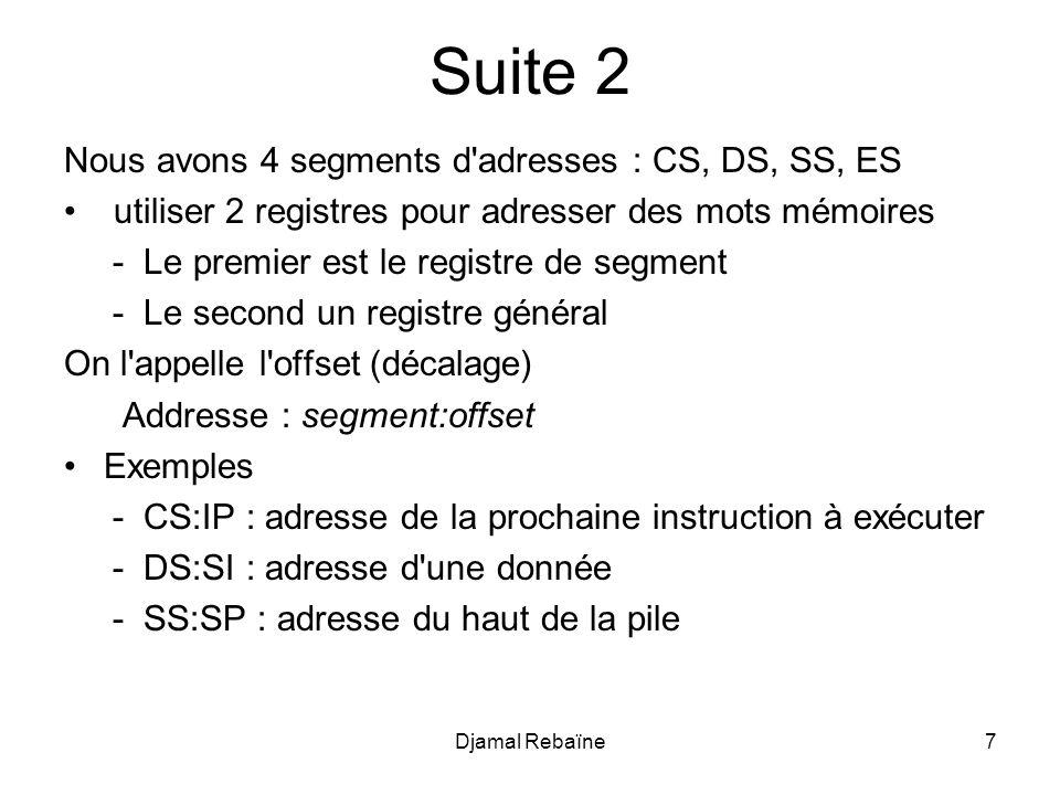 Suite 2 Nous avons 4 segments d adresses : CS, DS, SS, ES utiliser 2 registres pour adresser des mots mémoires - Le premier est le registre de segment - Le second un registre général On l appelle l offset (décalage) Addresse : segment:offset Exemples - CS:IP : adresse de la prochaine instruction à exécuter - DS:SI : adresse d une donnée - SS:SP : adresse du haut de la pile Djamal Rebaïne7
