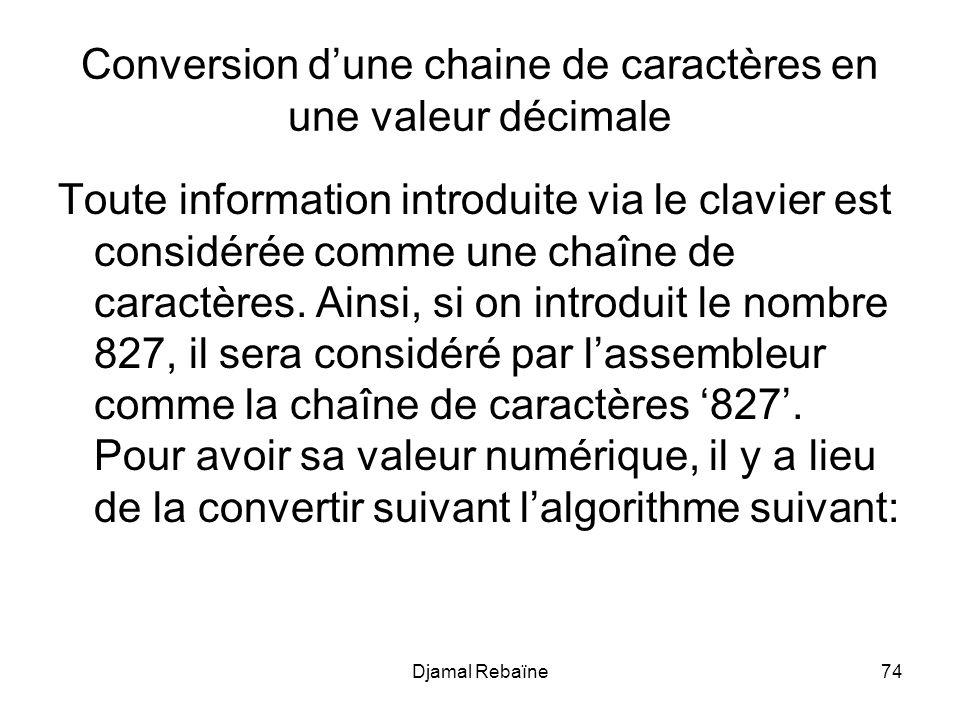 Djamal Rebaïne74 Conversion dune chaine de caractères en une valeur décimale Toute information introduite via le clavier est considérée comme une chaîne de caractères.