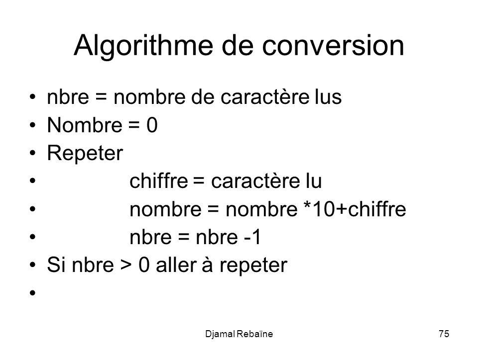 Djamal Rebaïne75 Algorithme de conversion nbre = nombre de caractère lus Nombre = 0 Repeter chiffre = caractère lu nombre = nombre *10+chiffre nbre =
