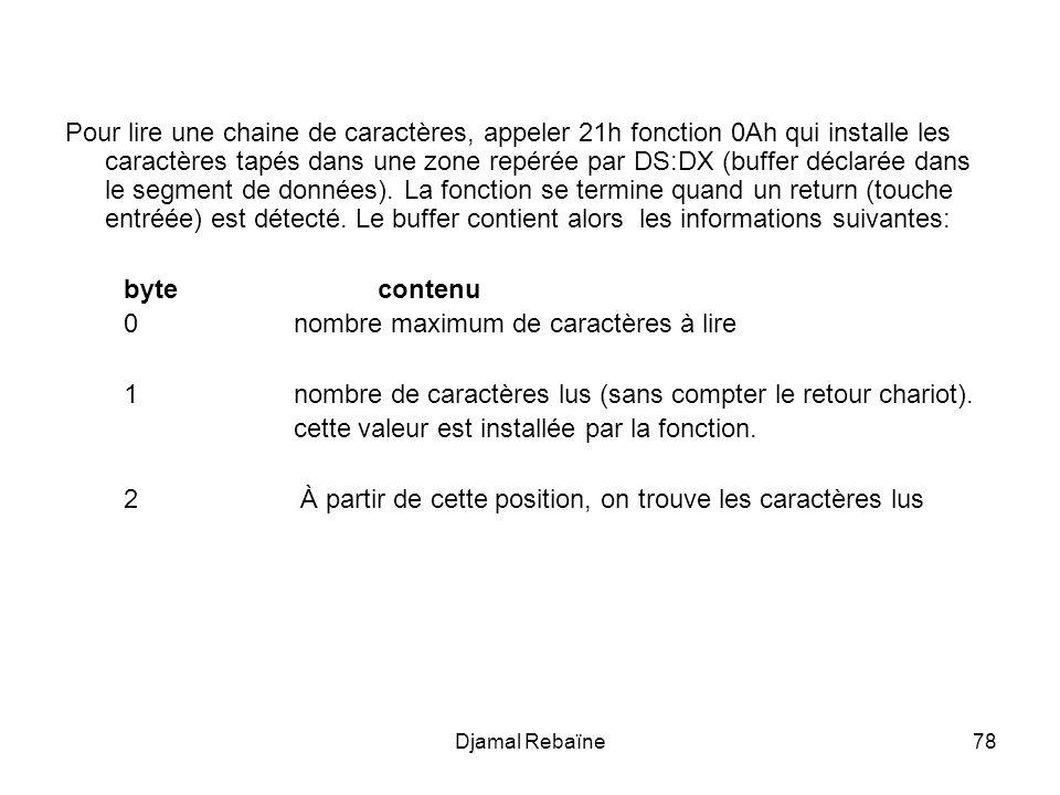 Djamal Rebaïne78 Pour lire une chaine de caractères, appeler 21h fonction 0Ah qui installe les caractères tapés dans une zone repérée par DS:DX (buffer déclarée dans le segment de données).