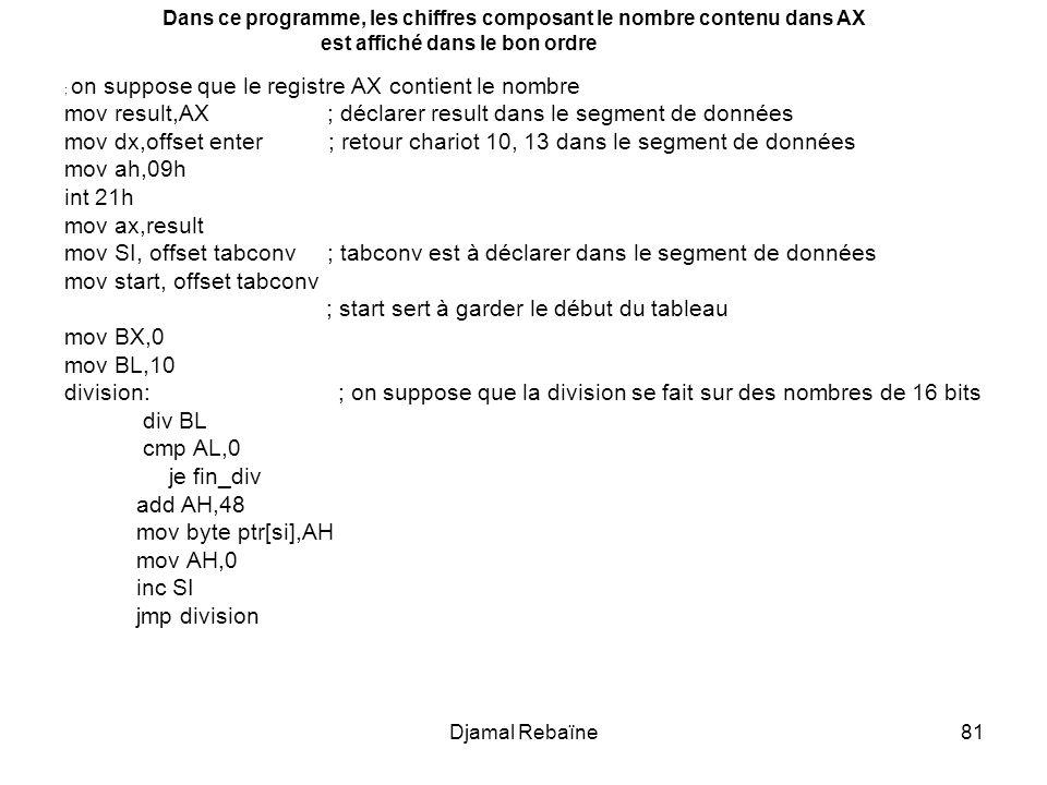Djamal Rebaïne81 ; on suppose que le registre AX contient le nombre mov result,AX ; déclarer result dans le segment de données mov dx,offset enter ; retour chariot 10, 13 dans le segment de données mov ah,09h int 21h mov ax,result mov SI, offset tabconv ; tabconv est à déclarer dans le segment de données mov start, offset tabconv ; start sert à garder le début du tableau mov BX,0 mov BL,10 division: ; on suppose que la division se fait sur des nombres de 16 bits div BL cmp AL,0 je fin_div add AH,48 mov byte ptr[si],AH mov AH,0 inc SI jmp division Dans ce programme, les chiffres composant le nombre contenu dans AX est affiché dans le bon ordre