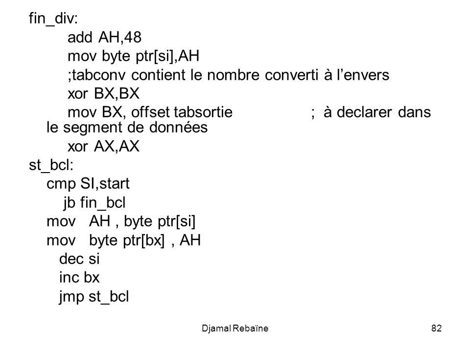 Djamal Rebaïne82 fin_div: add AH,48 mov byte ptr[si],AH ;tabconv contient le nombre converti à lenvers xor BX,BX mov BX, offset tabsortie; à declarer dans le segment de données xor AX,AX st_bcl: cmp SI,start jb fin_bcl mov AH, byte ptr[si] mov byte ptr[bx], AH dec si inc bx jmp st_bcl