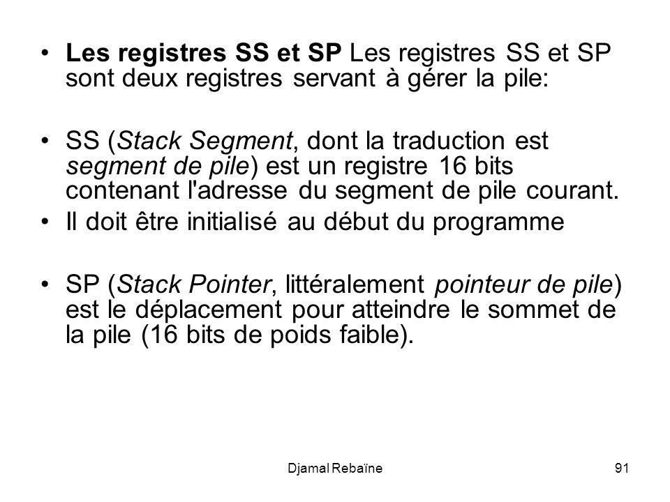 Djamal Rebaïne91 Les registres SS et SP Les registres SS et SP sont deux registres servant à gérer la pile: SS (Stack Segment, dont la traduction est segment de pile) est un registre 16 bits contenant l adresse du segment de pile courant.