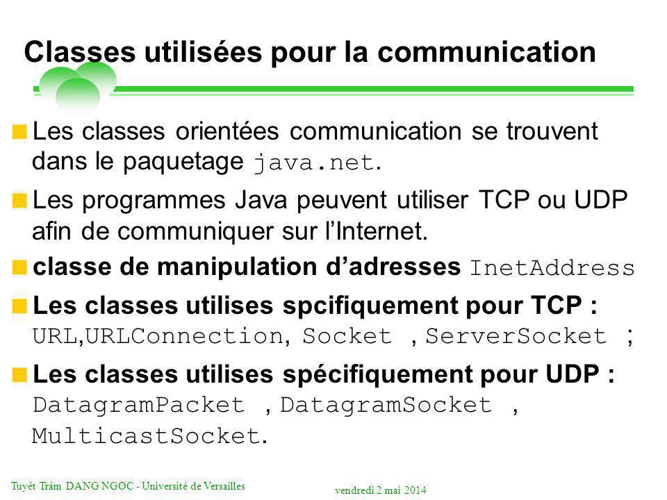vendredi 2 mai 2014 Tuyêt Trâm DANG NGOC - Université de Versailles Classes utilisées pour la communication Les classes orientées communication se trouvent dans le paquetage java.net.