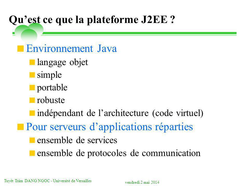 vendredi 2 mai 2014 Tuyêt Trâm DANG NGOC - Université de Versailles Quest ce que la plateforme J2EE ? Environnement Java langage objet simple portable