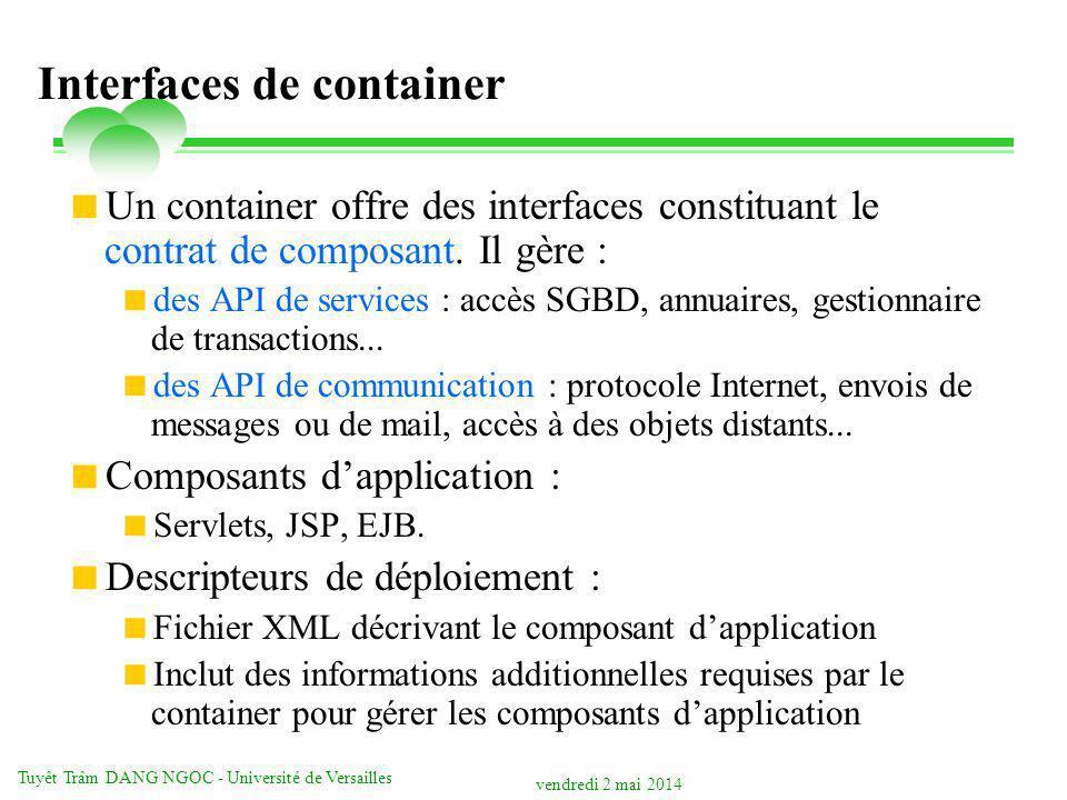 vendredi 2 mai 2014 Tuyêt Trâm DANG NGOC - Université de Versailles Interfaces de container Un container offre des interfaces constituant le contrat d