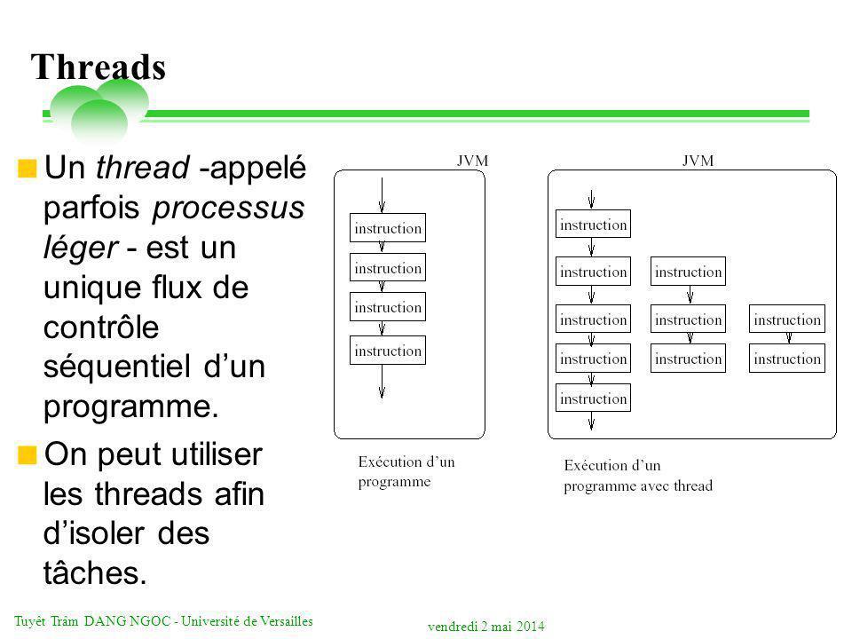 vendredi 2 mai 2014 Tuyêt Trâm DANG NGOC - Université de Versailles Threads Un thread -appelé parfois processus léger - est un unique flux de contrôle séquentiel dun programme.
