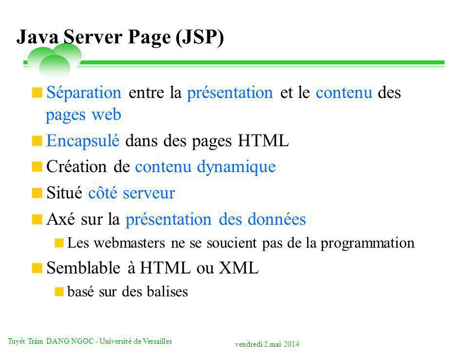 vendredi 2 mai 2014 Tuyêt Trâm DANG NGOC - Université de Versailles Java Server Page (JSP) Séparation entre la présentation et le contenu des pages we