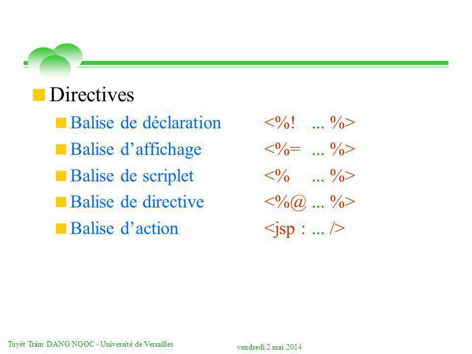 vendredi 2 mai 2014 Tuyêt Trâm DANG NGOC - Université de Versailles Directives Balise de déclaration Balise daffichage Balise de scriplet Balise de directive Balise daction