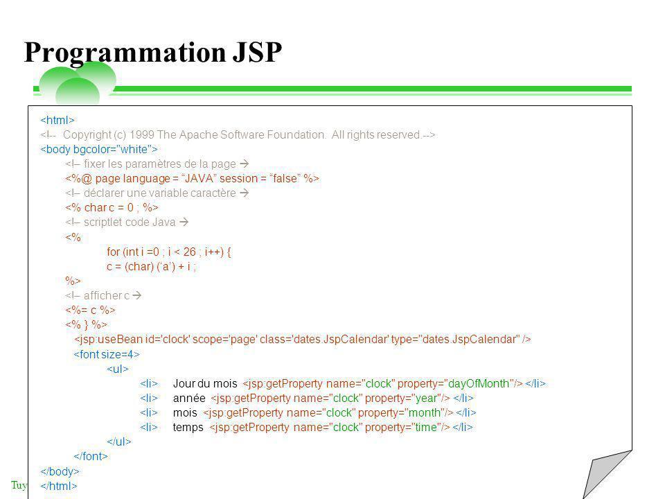 vendredi 2 mai 2014 Tuyêt Trâm DANG NGOC - Université de Versailles Programmation JSP <!– fixer les paramètres de la page <!– déclarer une variable ca