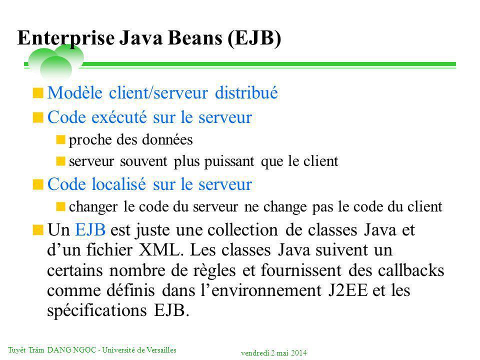 vendredi 2 mai 2014 Tuyêt Trâm DANG NGOC - Université de Versailles Enterprise Java Beans (EJB) Modèle client/serveur distribué Code exécuté sur le serveur proche des données serveur souvent plus puissant que le client Code localisé sur le serveur changer le code du serveur ne change pas le code du client Un EJB est juste une collection de classes Java et dun fichier XML.