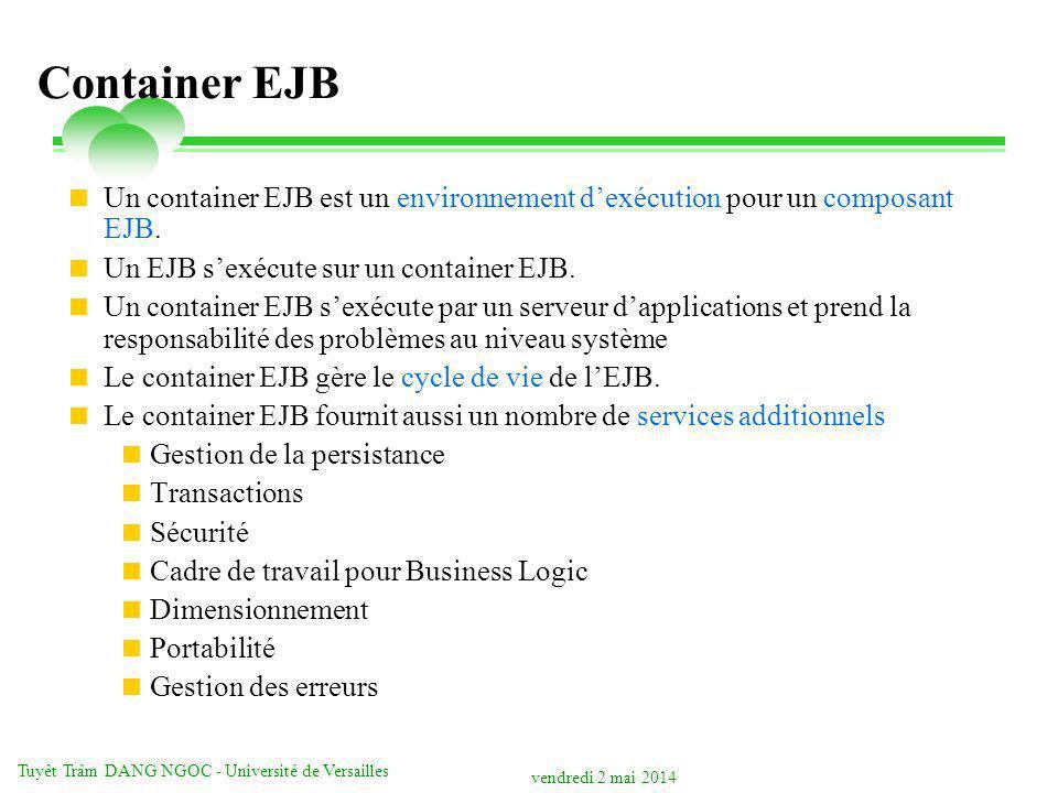 vendredi 2 mai 2014 Tuyêt Trâm DANG NGOC - Université de Versailles Container EJB Un container EJB est un environnement dexécution pour un composant EJB.