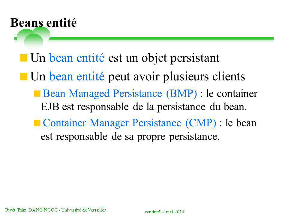 vendredi 2 mai 2014 Tuyêt Trâm DANG NGOC - Université de Versailles Beans entité Un bean entité est un objet persistant Un bean entité peut avoir plusieurs clients Bean Managed Persistance (BMP) : le container EJB est responsable de la persistance du bean.