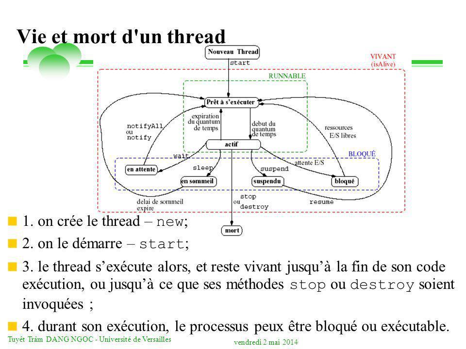 vendredi 2 mai 2014 Tuyêt Trâm DANG NGOC - Université de Versailles Programmation JavaMail import javax.mail.*; import javax.mail.internet.*; import java.util.*; public class SendEmail { public String SendMessage(String emailto, String emailfrom, String smtphost, String emailmultipart, String msgSubject, String msgText) { String msgText2 = multipart message ; boolean sendmultipart = Boolean.valueOf(emailmultipart).booleanValue(); // set the host Properties props = new Properties(); props.put( mail.smtp.host , smtphost); // create some properties and get the default Session Session session = Session.getDefaultInstance(props, null); try { // create a message Message msg = new MimeMessage(session); // set the from InternetAddress from = new InternetAddress(emailfrom); msg.setFrom(from); InternetAddress[] address = { new InternetAddress(emailto) }; msg.setRecipients(Message.RecipientType.TO, address); msg.setSubject(msgSubject); if(!sendmultipart) { // send a plain text message msg.setContent(msgText, text/plain ); } else { // send a multipart message// create and fill the first message part MimeBodyPart mbp1 = new MimeBodyPart(); mbp1.setContent(msgText, text/plain ); // create and fill the second message part MimeBodyPart mbp2 = new MimeBodyPart(); mbp2.setContent(msgText2, text/plain ); // create the Multipart and its parts to it Multipart mp = new MimeMultipart(); mp.addBodyPart(mbp1); mp.addBodyPart(mbp2); // add the Multipart to the message msg.setContent(mp); } Transport.send(msg); } catch(MessagingException mex) { mex.printStackTrace(); } return Email envoyé à + emailto; }