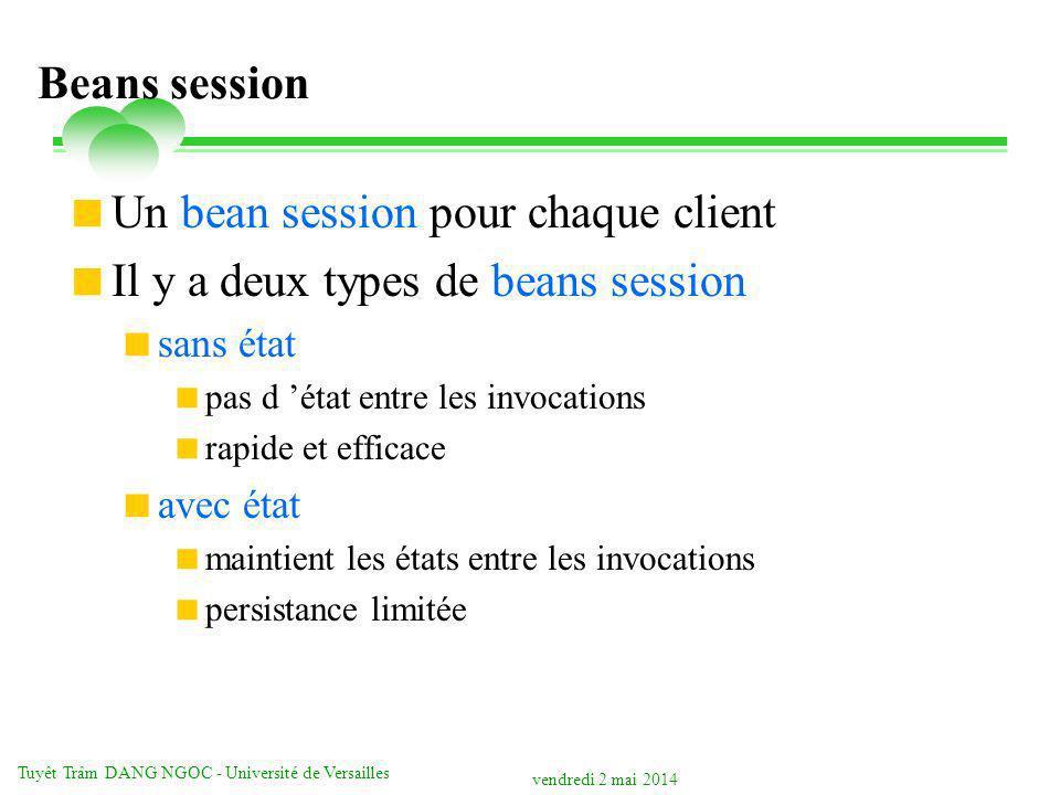 vendredi 2 mai 2014 Tuyêt Trâm DANG NGOC - Université de Versailles Beans session Un bean session pour chaque client Il y a deux types de beans sessio