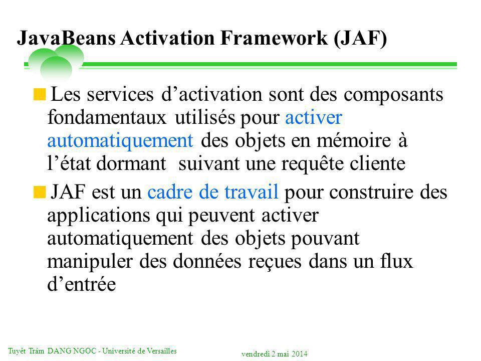 vendredi 2 mai 2014 Tuyêt Trâm DANG NGOC - Université de Versailles JavaBeans Activation Framework (JAF) Les services dactivation sont des composants