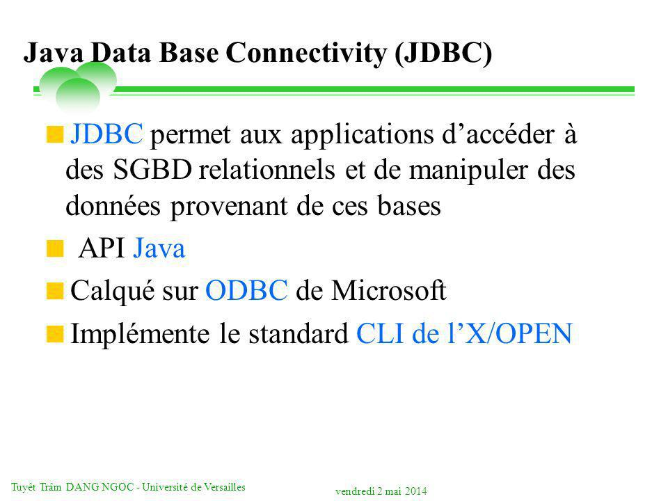 vendredi 2 mai 2014 Tuyêt Trâm DANG NGOC - Université de Versailles Java Data Base Connectivity (JDBC) JDBC permet aux applications daccéder à des SGB