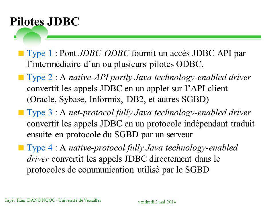 vendredi 2 mai 2014 Tuyêt Trâm DANG NGOC - Université de Versailles Pilotes JDBC Type 1 : Pont JDBC-ODBC fournit un accès JDBC API par lintermédiaire dun ou plusieurs pilotes ODBC.