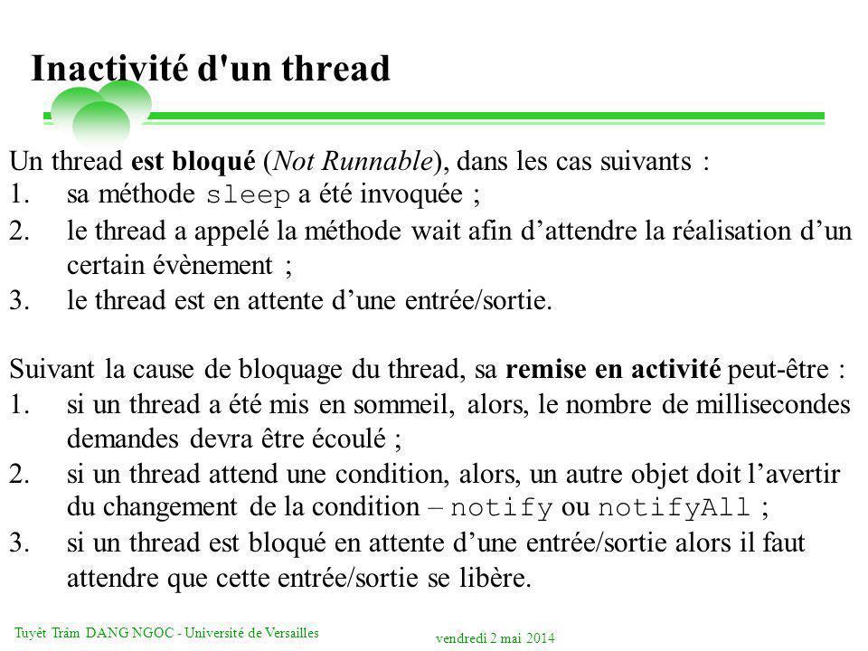 vendredi 2 mai 2014 Tuyêt Trâm DANG NGOC - Université de Versailles Inactivité d un thread Un thread est bloqué (Not Runnable), dans les cas suivants : 1.sa méthode sleep a été invoquée ; 2.le thread a appelé la méthode wait afin dattendre la réalisation dun certain évènement ; 3.le thread est en attente dune entrée/sortie.