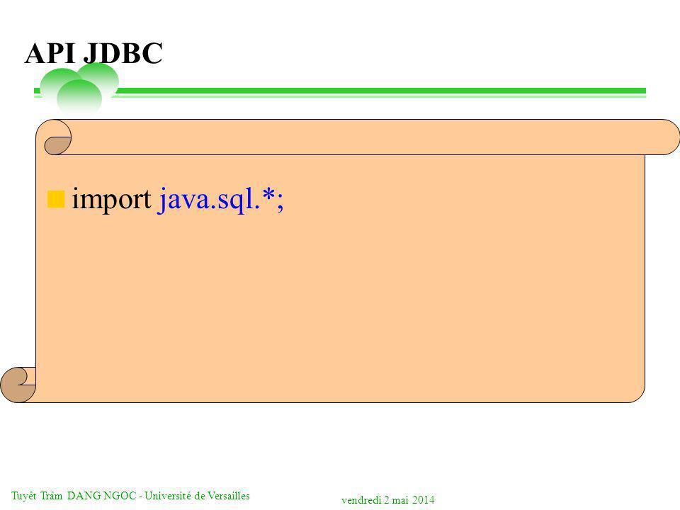 vendredi 2 mai 2014 Tuyêt Trâm DANG NGOC - Université de Versailles API JDBC import java.sql.*;