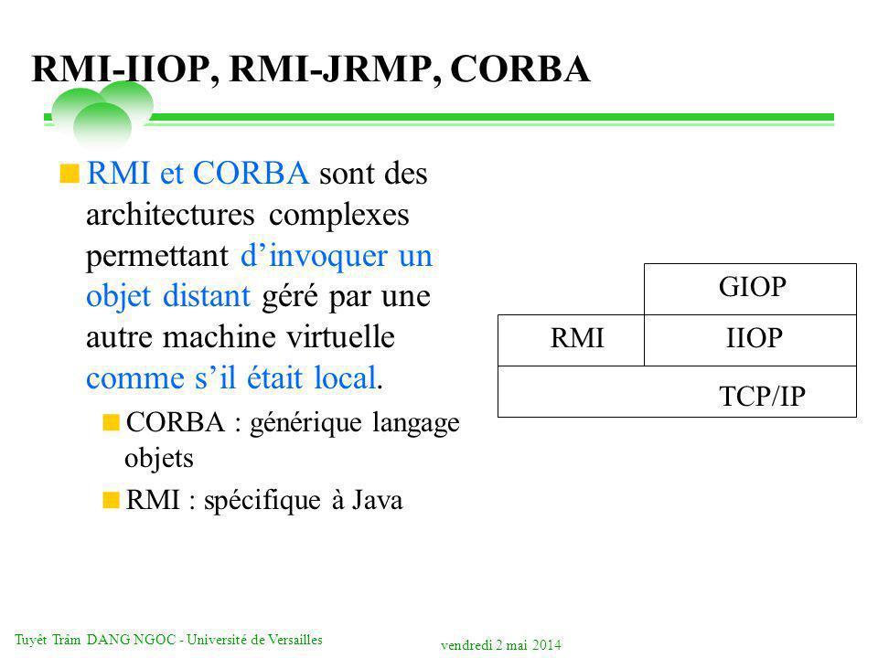 vendredi 2 mai 2014 Tuyêt Trâm DANG NGOC - Université de Versailles RMI-IIOP, RMI-JRMP, CORBA RMI et CORBA sont des architectures complexes permettant dinvoquer un objet distant géré par une autre machine virtuelle comme sil était local.