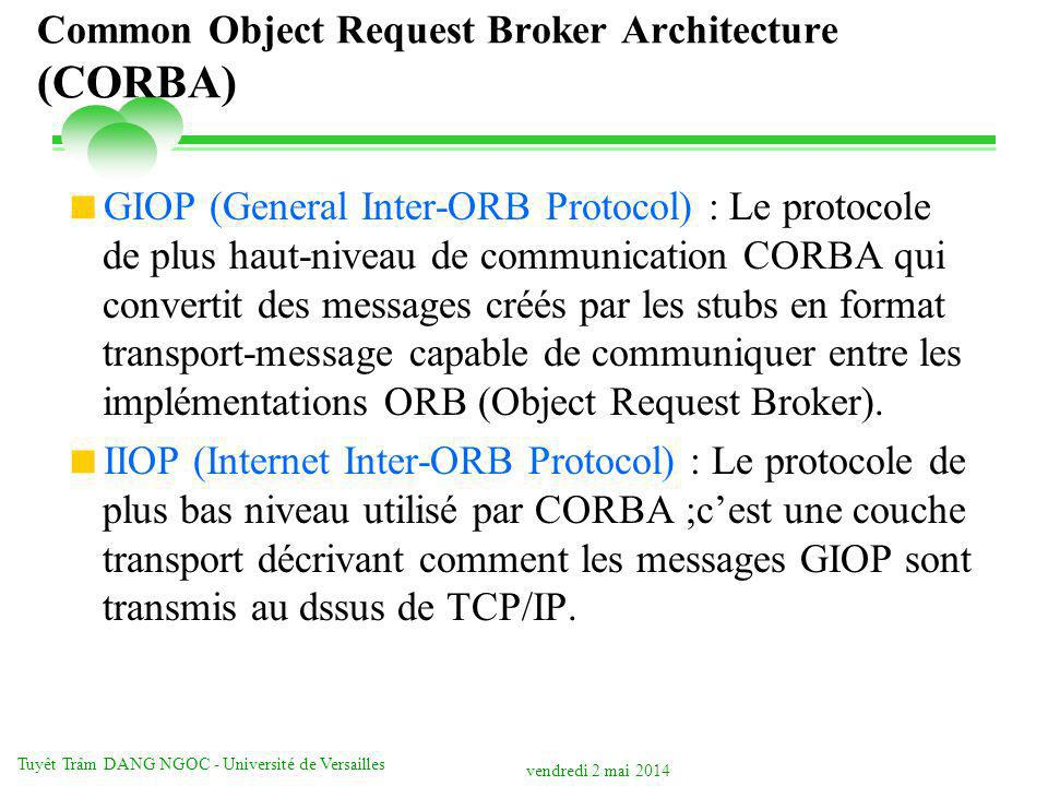 vendredi 2 mai 2014 Tuyêt Trâm DANG NGOC - Université de Versailles Common Object Request Broker Architecture (CORBA) GIOP (General Inter-ORB Protocol