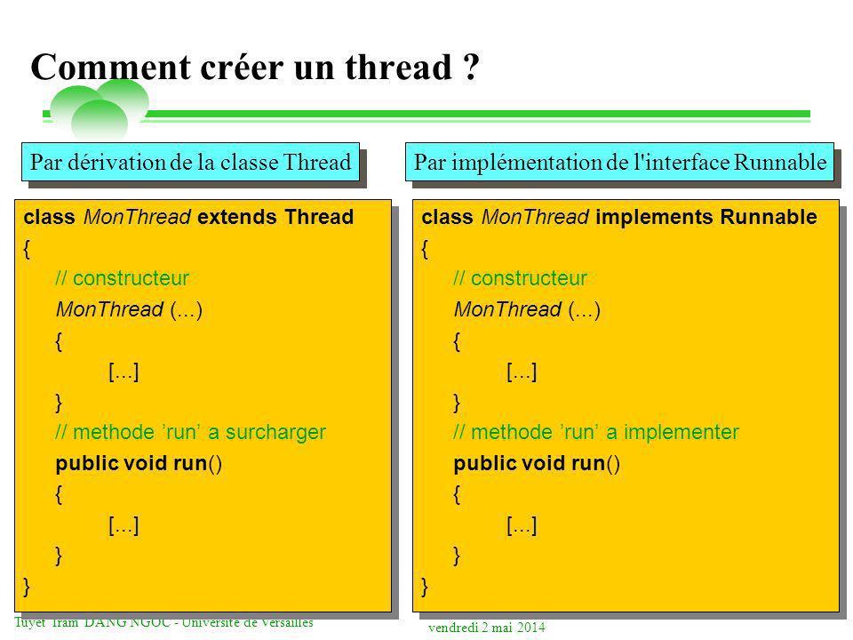 vendredi 2 mai 2014 Tuyêt Trâm DANG NGOC - Université de Versailles Java Data Base Connectivity (JDBC) JDBC permet aux applications daccéder à des SGBD relationnels et de manipuler des données provenant de ces bases API Java Calqué sur ODBC de Microsoft Implémente le standard CLI de lX/OPEN