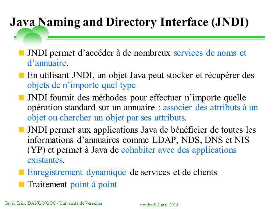 vendredi 2 mai 2014 Tuyêt Trâm DANG NGOC - Université de Versailles Java Naming and Directory Interface (JNDI) JNDI permet daccéder à de nombreux serv