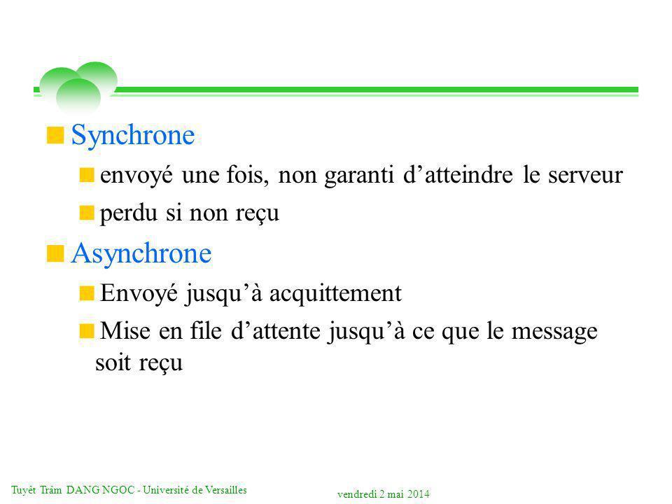 vendredi 2 mai 2014 Tuyêt Trâm DANG NGOC - Université de Versailles Synchrone envoyé une fois, non garanti datteindre le serveur perdu si non reçu Asynchrone Envoyé jusquà acquittement Mise en file dattente jusquà ce que le message soit reçu