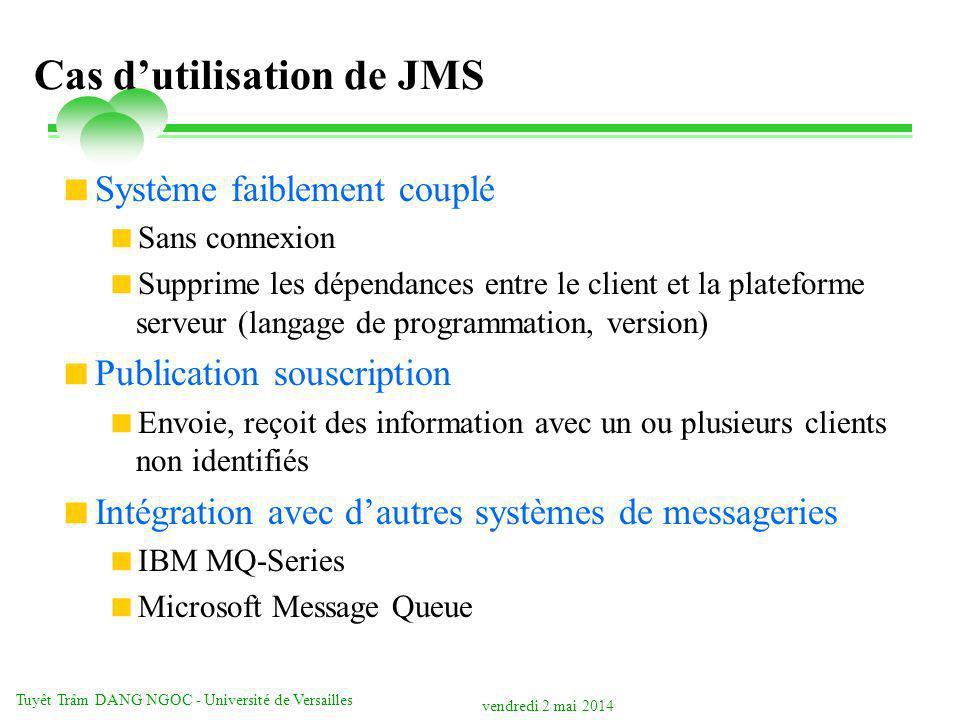 vendredi 2 mai 2014 Tuyêt Trâm DANG NGOC - Université de Versailles Cas dutilisation de JMS Système faiblement couplé Sans connexion Supprime les dépe