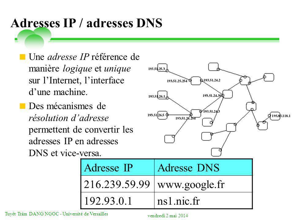 vendredi 2 mai 2014 Tuyêt Trâm DANG NGOC - Université de Versailles Adresses IP / adresses DNS Une adresse IP référence de manière logique et unique s