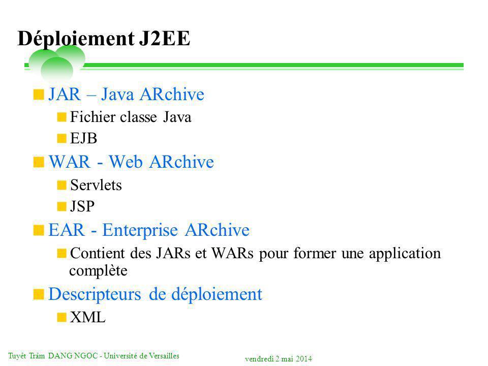 vendredi 2 mai 2014 Tuyêt Trâm DANG NGOC - Université de Versailles Déploiement J2EE JAR – Java ARchive Fichier classe Java EJB WAR - Web ARchive Servlets JSP EAR - Enterprise ARchive Contient des JARs et WARs pour former une application complète Descripteurs de déploiement XML