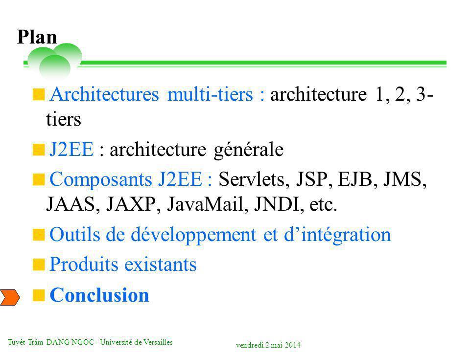 vendredi 2 mai 2014 Tuyêt Trâm DANG NGOC - Université de Versailles Plan Architectures multi-tiers : architecture 1, 2, 3- tiers J2EE : architecture générale Composants J2EE : Servlets, JSP, EJB, JMS, JAAS, JAXP, JavaMail, JNDI, etc.