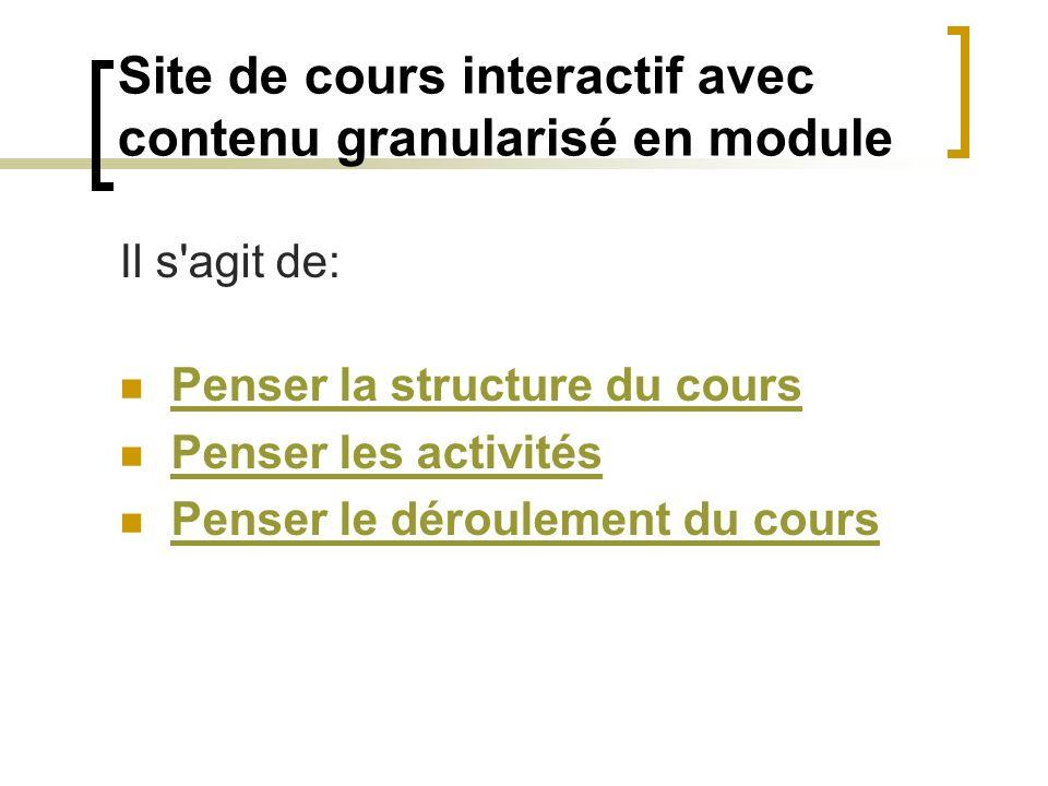 Site de cours interactif avec contenu granularisé en module Il s'agit de: Penser la structure du cours Penser les activités Penser le déroulement du c