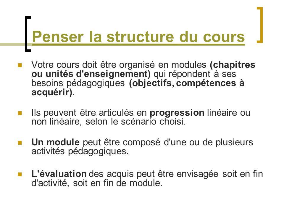 Penser la structure du cours Votre cours doit être organisé en modules (chapitres ou unités d'enseignement) qui répondent à ses besoins pédagogiques (