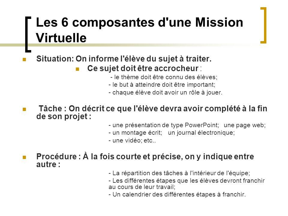 Les 6 composantes d'une Mission Virtuelle Situation: On informe l'élève du sujet à traiter. Ce sujet doit être accrocheur : - le thème doit être connu