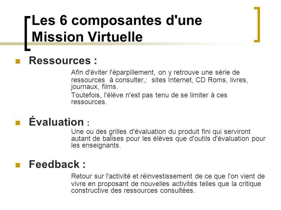 Les 6 composantes d'une Mission Virtuelle Ressources : Afin d'éviter l'éparpillement, on y retrouve une série de ressources à consulter,: sites Intern