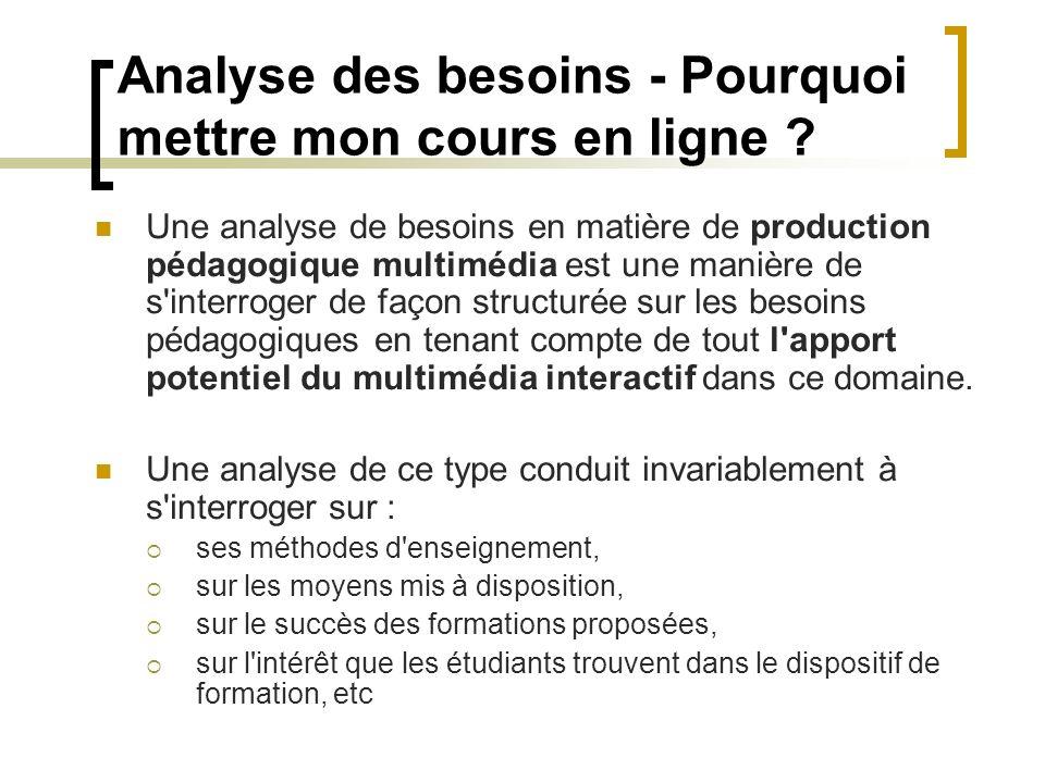 Analyse des besoins - Pourquoi mettre mon cours en ligne ? Une analyse de besoins en matière de production pédagogique multimédia est une manière de s