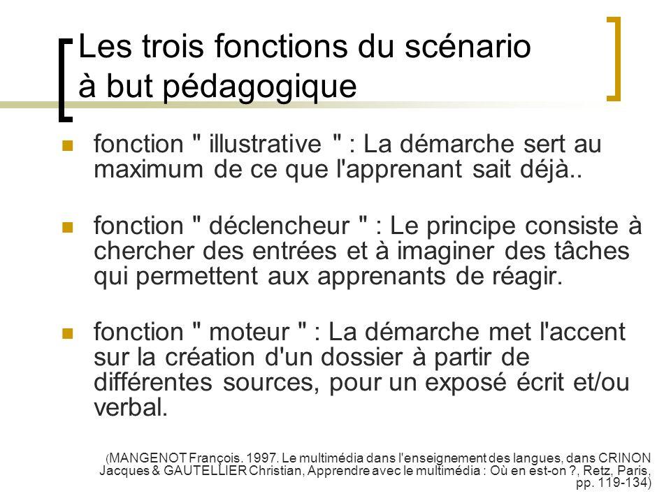 Les trois fonctions du scénario à but pédagogique fonction
