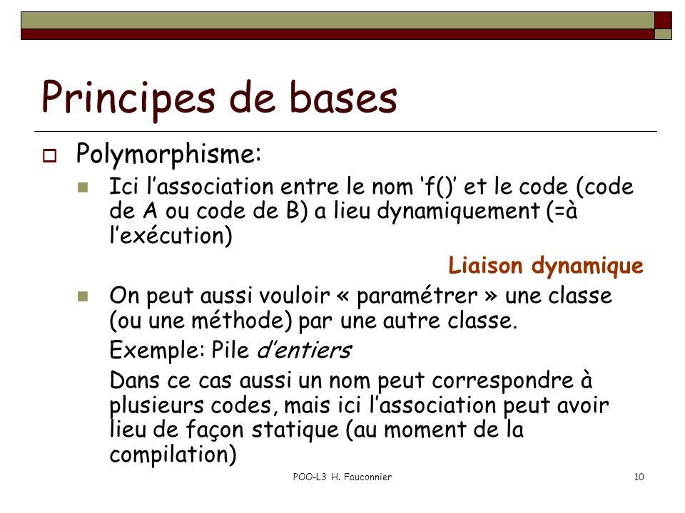 POO-L3 H. Fauconnier10 Principes de bases Polymorphisme: Ici lassociation entre le nom f() et le code (code de A ou code de B) a lieu dynamiquement (=