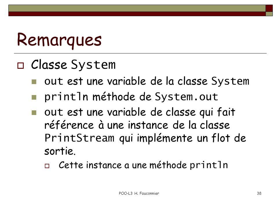 POO-L3 H. Fauconnier38 Remarques Classe System out est une variable de la classe System printl n méthode de System.out out est une variable de classe