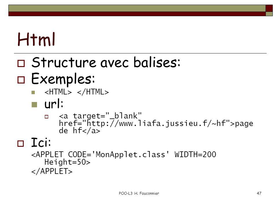 POO-L3 H. Fauconnier47 Html Structure avec balises: Exemples: url: page de hf Ici: