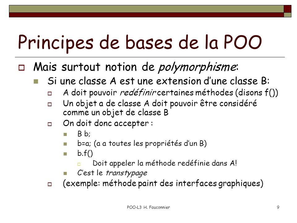 POO-L3 H. Fauconnier9 Principes de bases de la POO Mais surtout notion de polymorphisme: Si une classe A est une extension dune classe B: A doit pouvo